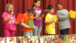 Third-grade students from Syracuse Dual Language Academy share stories with their school at the Nature Matching System project mural unveiling at Seymour Academy's cafeteria.