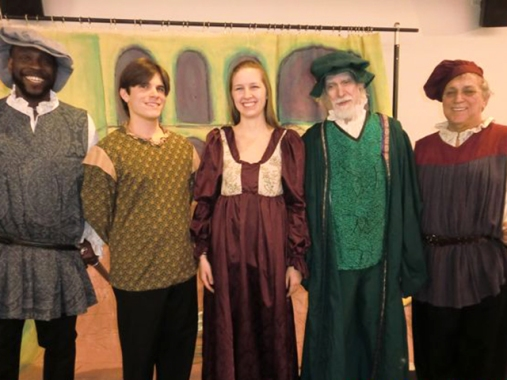 LR James Sanders, Jesse Navagh, Sarah Bradstreet , Gary Van Dusen and Bob Reid in the Romeo and Juliet section of SSF's No Bully Shakespeare